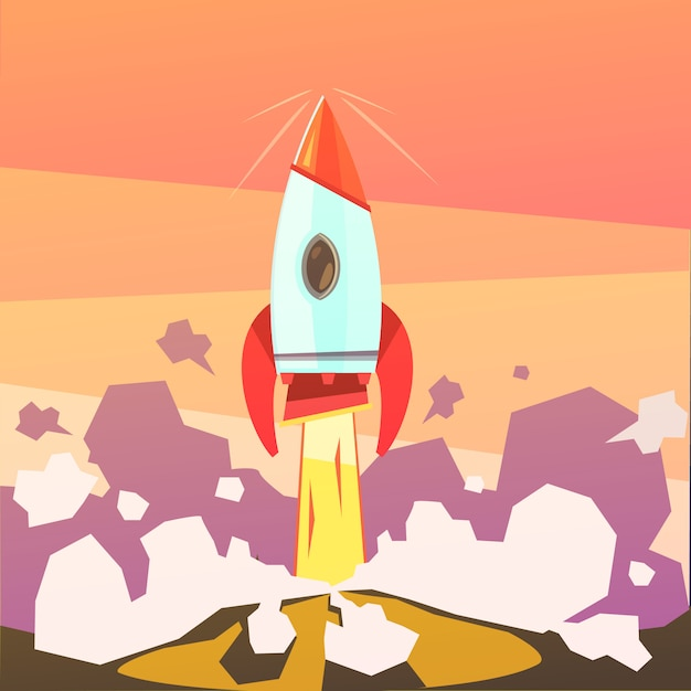 Запуск ракеты и запуск мультяшного фона Бесплатные векторы