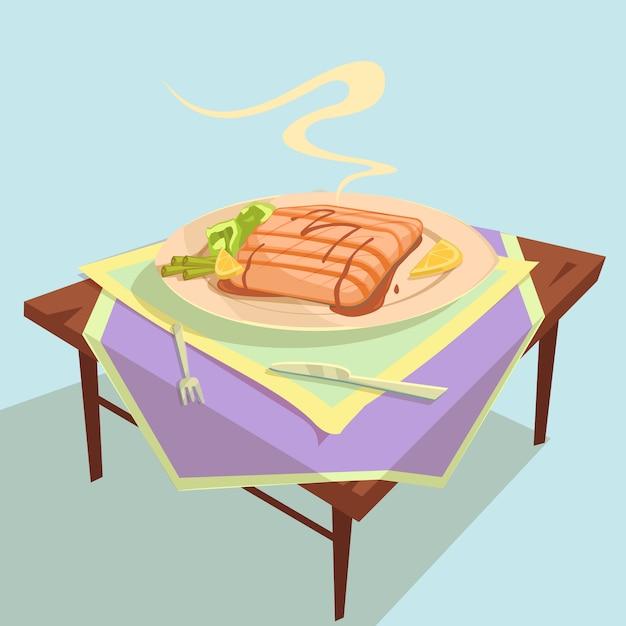 魚料理漫画イラスト 無料ベクター