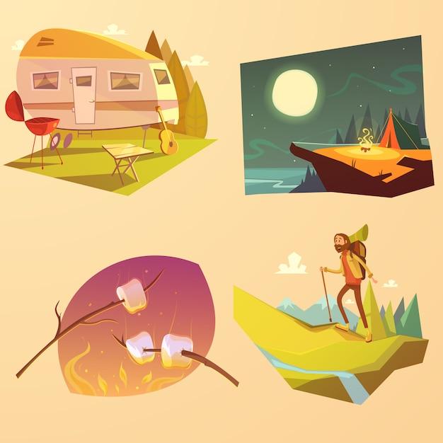 キャンプやハイキングの漫画セット 無料ベクター