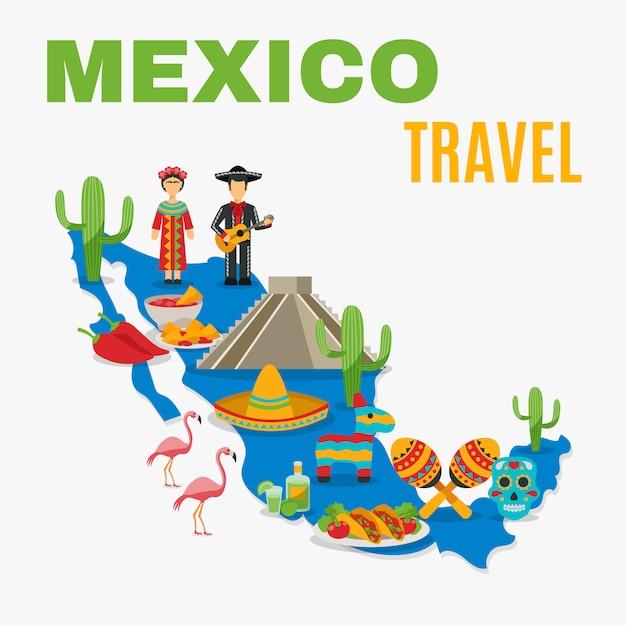 メキシコの背景の地図 無料ベクター