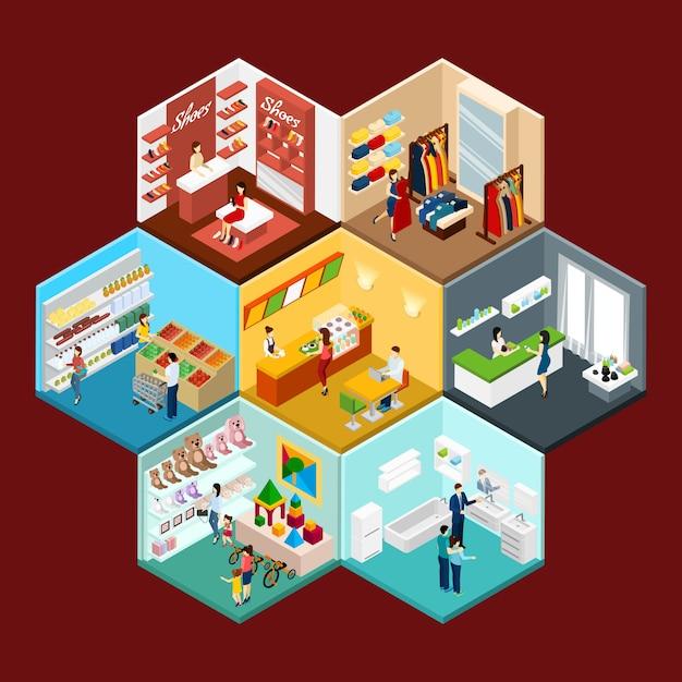 Торговый центр шестиугольная модель изометрическая композиция Бесплатные векторы