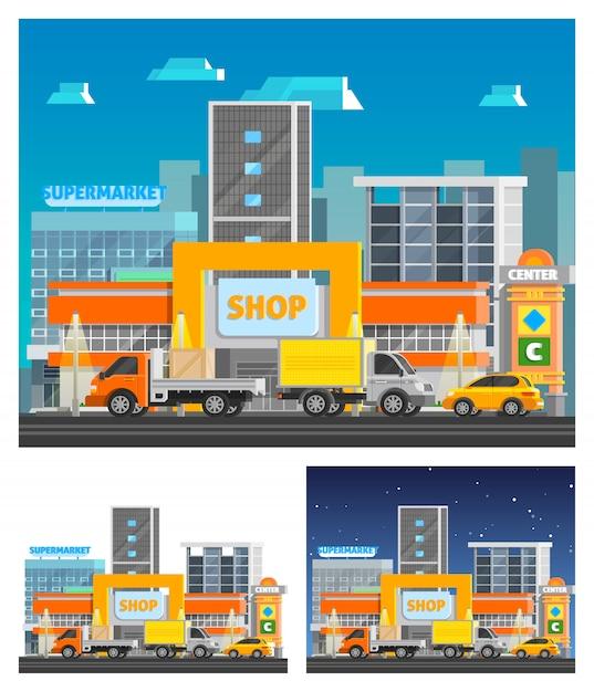 ショッピングセンターの直交コンポジション 無料ベクター