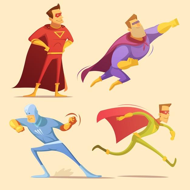 スーパーヒーロー漫画のアイコンを設定 無料ベクター