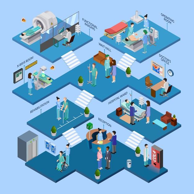Изометрическая концепция структуры больницы Бесплатные векторы