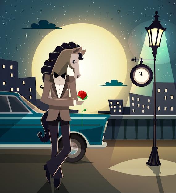 流行に敏感なロマンチックな動物 無料ベクター