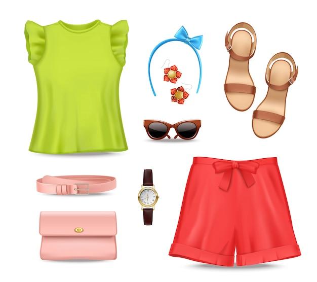 Женский романтический красочный летний комплект одежды и аксессуаров Бесплатные векторы