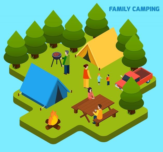 キャンプや旅行等尺性組成物 無料ベクター