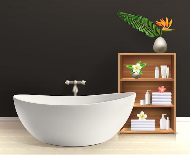 家具付きバスルームのインテリア 無料ベクター