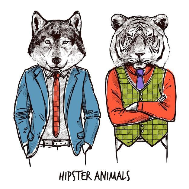 Набор хипстерских животных Бесплатные векторы