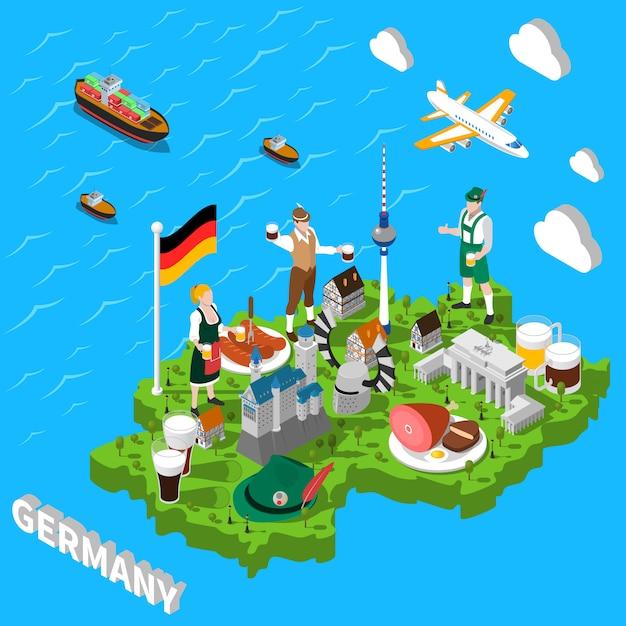 観光客のためのドイツの等尺性観光マップ 無料ベクター