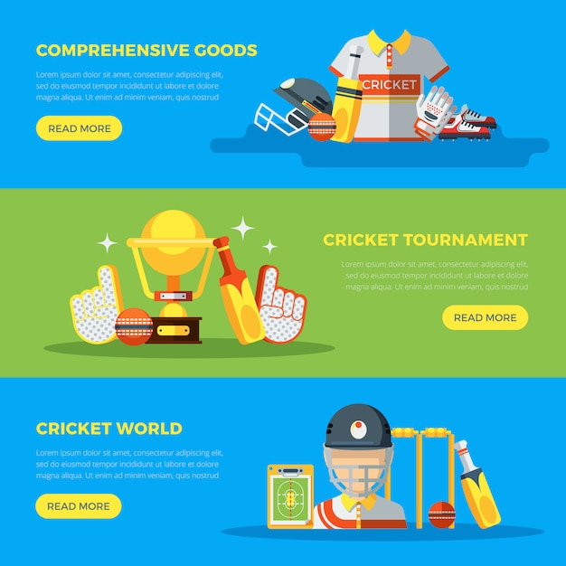 Крикет мир баннеры Бесплатные векторы