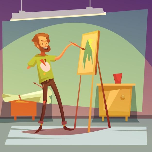 右手のないアーティストの絵 無料ベクター