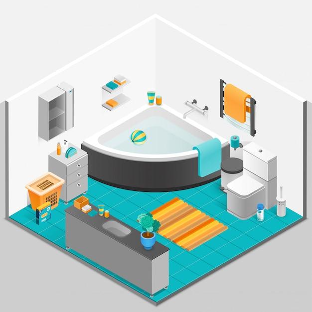 Интерьер ванной комнаты изометрии Бесплатные векторы