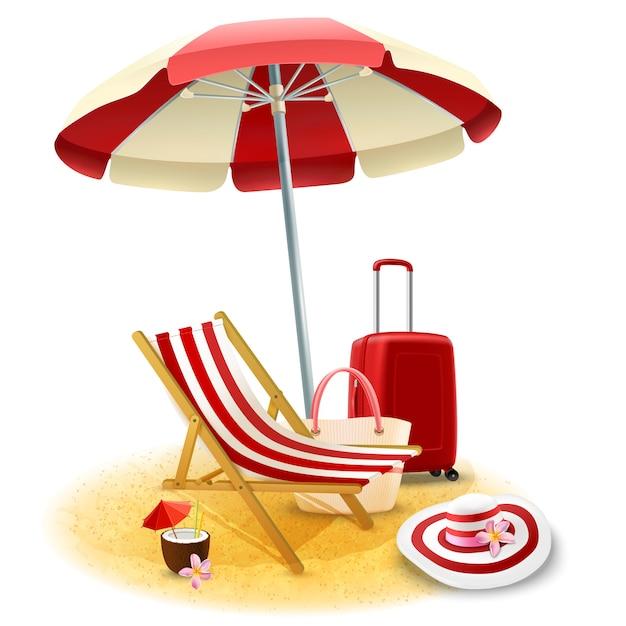 Пляжный шезлонг и зонтик иллюстрация Бесплатные векторы