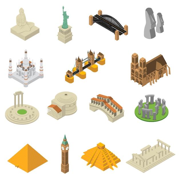 Набор изометрических иконок всемирно известных достопримечательностей Бесплатные векторы