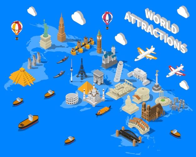 等尺性世界的に有名なランドマーク地図ポスター 無料ベクター