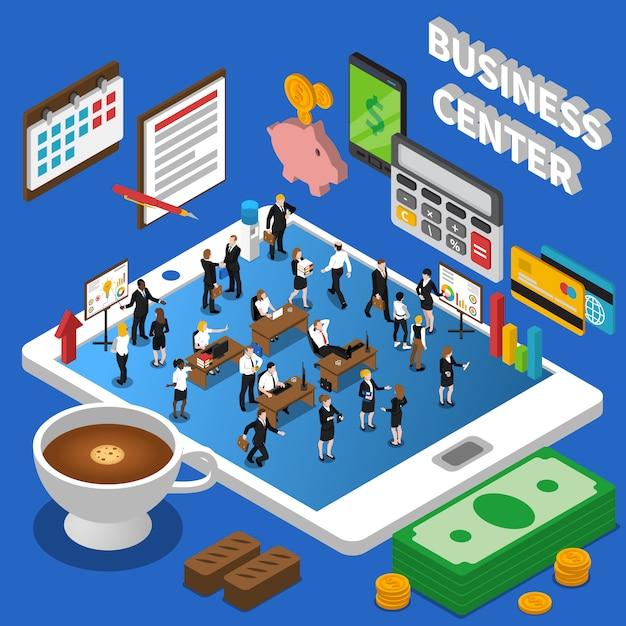 金融ビジネスセンター等尺性組成物ポスター 無料ベクター