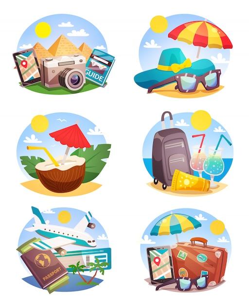 Композиции для летнего отдыха Бесплатные векторы