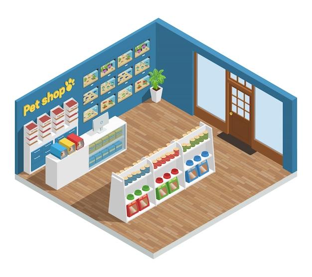 Композиция интерьера зоомагазина с пищевыми аксессуарами и игрушками Бесплатные векторы