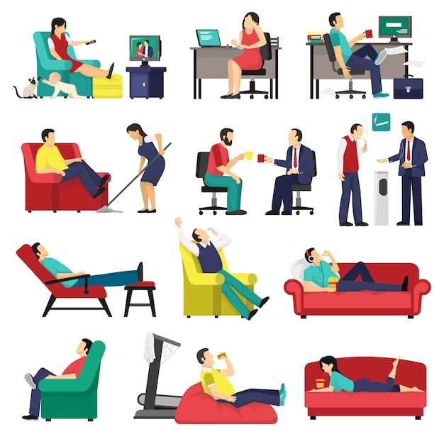 Набор ленивых и усталых людей Бесплатные векторы