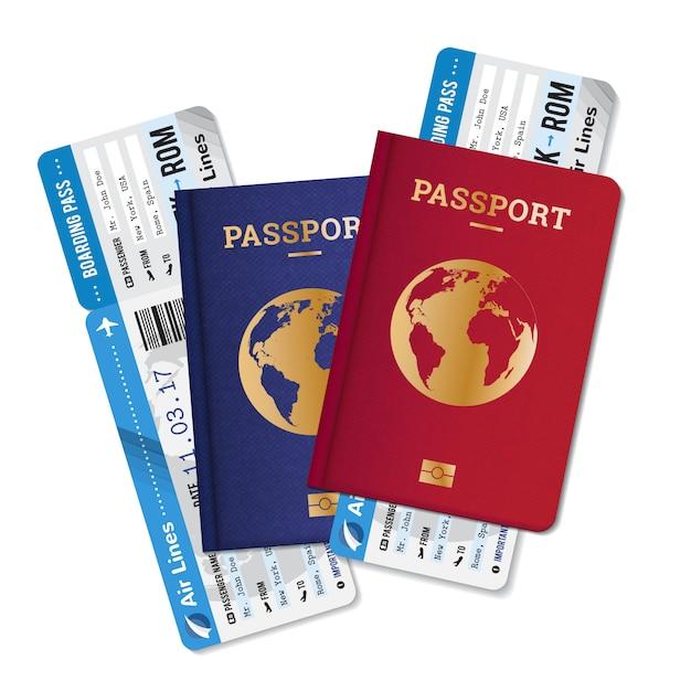 Два паспорта с посадочными талонами, билеты реалистичный набор, рекламное объявление международного агентства путешествий Бесплатные векторы