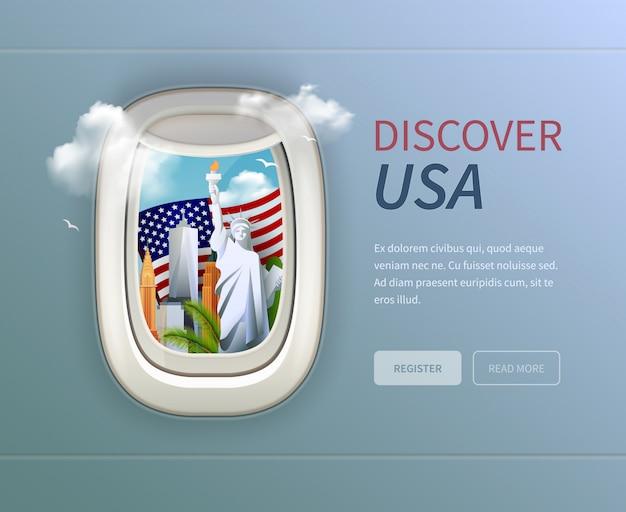 Фон из иллюминатора сша с заголовком «откройте для себя сша», кнопками «регистрация и чтение» Бесплатные векторы