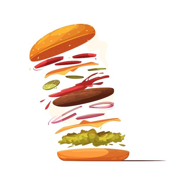 Дизайн ингредиентов гамбургера с говяжьей котлетой, сыром, ломтиками овощей, салатной булочкой с кунжутом и кетчупом Бесплатные векторы