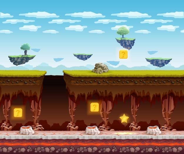 Электронная игра подземный этаж мультипликационный экран Бесплатные векторы