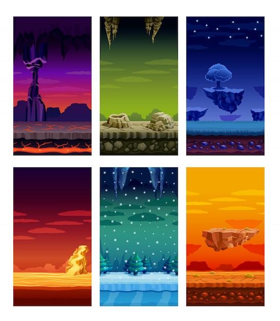コンピューターゲームのカラフルな要素漫画セット 無料ベクター