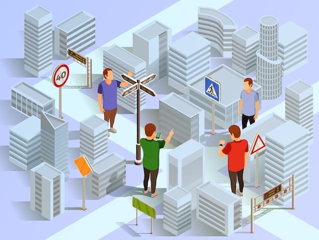 都市ナビゲーション等尺性組成物 無料ベクター