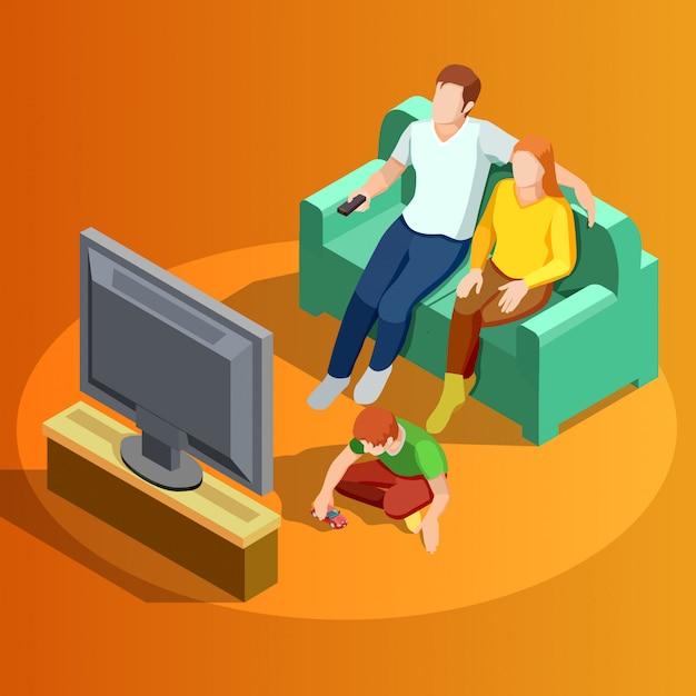 Семья смотрит телевизор домой изометрические изображения Бесплатные векторы