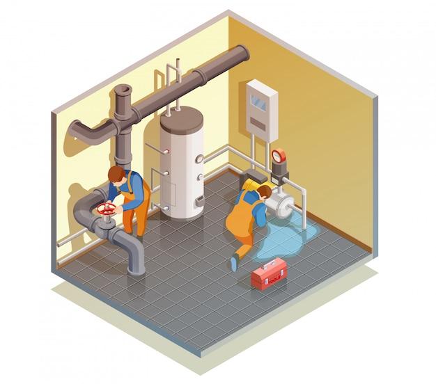 配管工ボイラーリーク固定等尺性組成 無料ベクター
