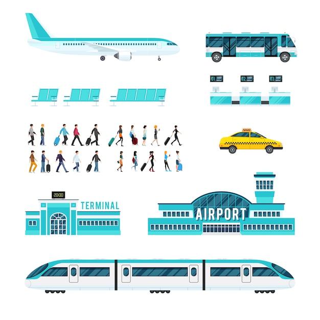 人交通機関と空港のアイコンを設定 無料ベクター