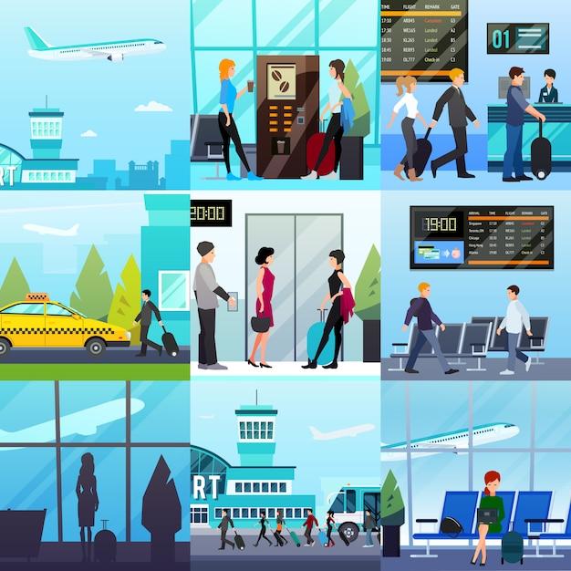Наборы экспрессов для аэропорта Бесплатные векторы