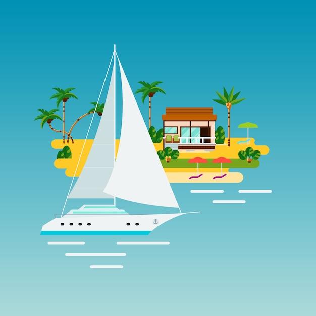 トロピカルヨット休暇の組成 無料ベクター