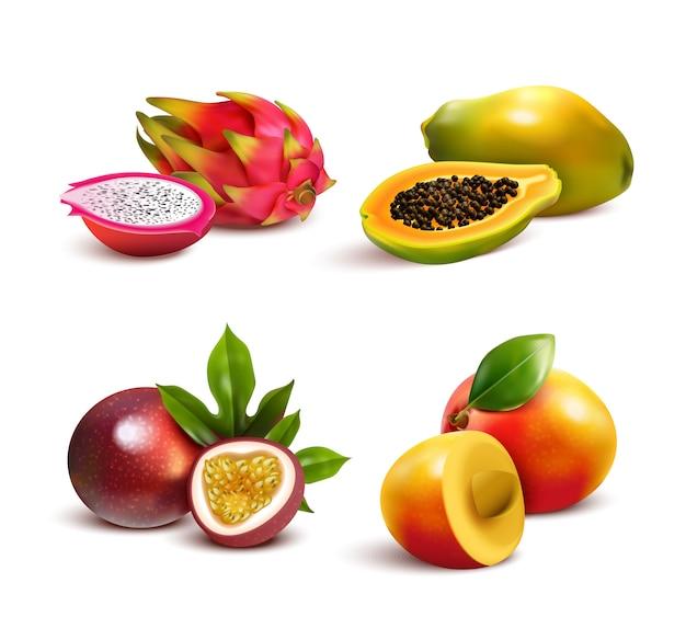 Набор зрелых тропических фруктов Бесплатные векторы