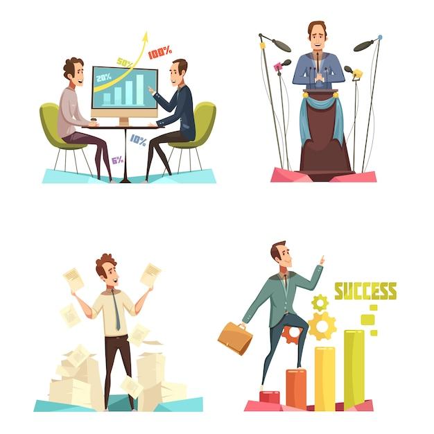 Значки концепции встречи установленные с шаржем символов успеха изолировали иллюстрацию вектора Бесплатные векторы