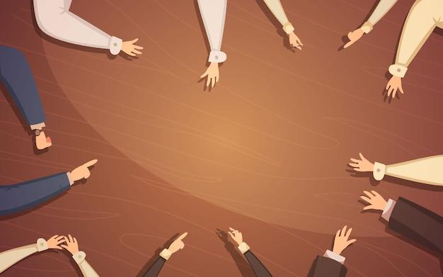 人々の手とテーブル漫画ベクトルイラストビジネス会議コンセプト 無料ベクター