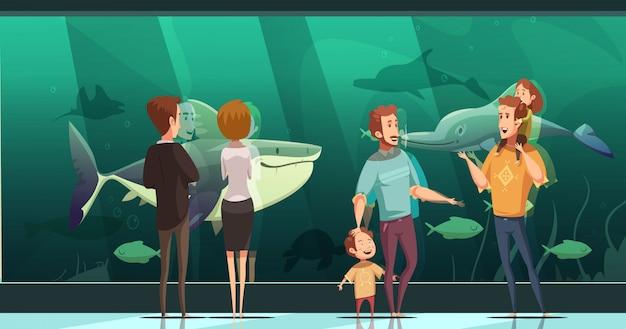 水族館デザインの人々と大人と子供たちの浮遊魚を見てフラットベクトル図 無料ベクター