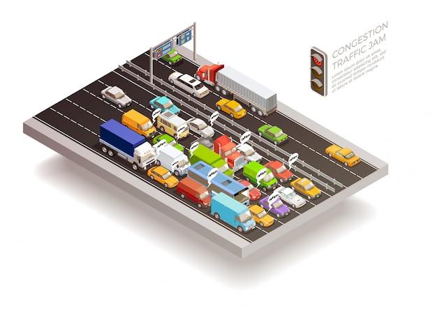 交通渋滞等尺性デザインコンセプト 無料ベクター