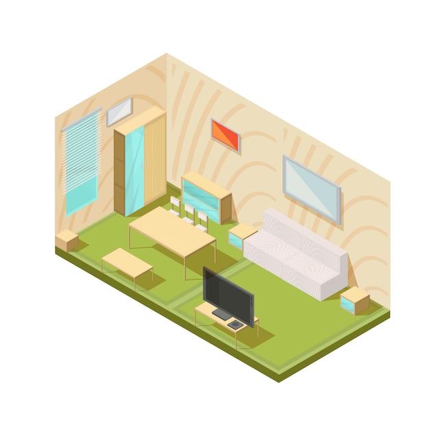 Композиция мебели с изометрической гостиной интерьер телевизора окна столы шкаф диван и тумбочки векторная иллюстрация Бесплатные векторы