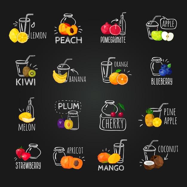 新鮮な果物のカラフルな黒板のアイコンを設定 無料ベクター