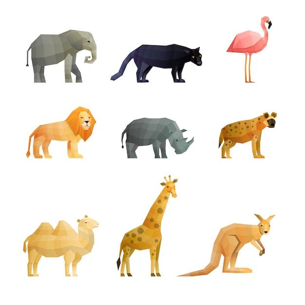 Набор полигональных иконок южных диких животных Бесплатные векторы