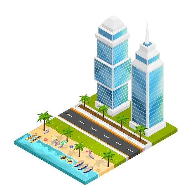 街とビーチのコンセプト 無料ベクター