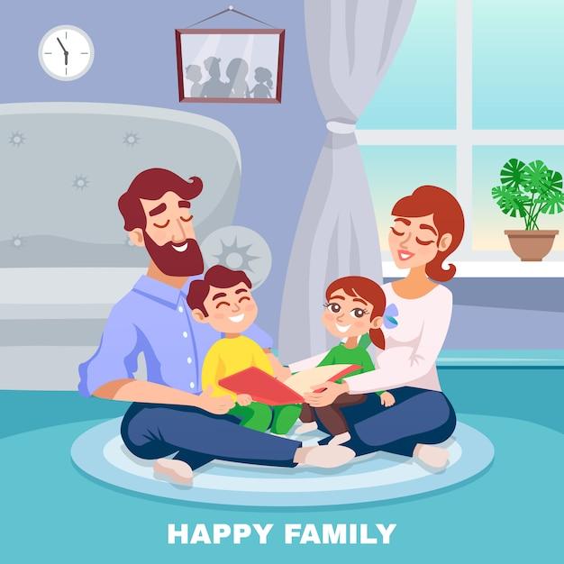 Счастливый семейный мультфильм постер Бесплатные векторы