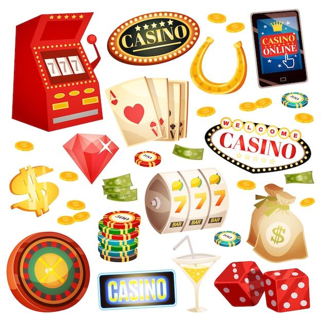 Набор декоративных иконок казино Бесплатные векторы