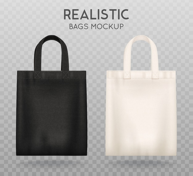 黒と白のトートバッグ 無料ベクター