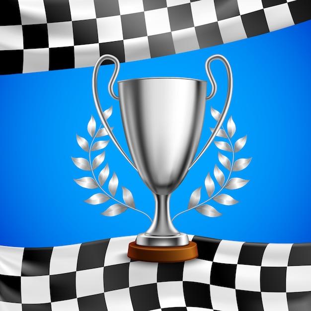 Серебряный победитель трофи реалистичный плакат Бесплатные векторы
