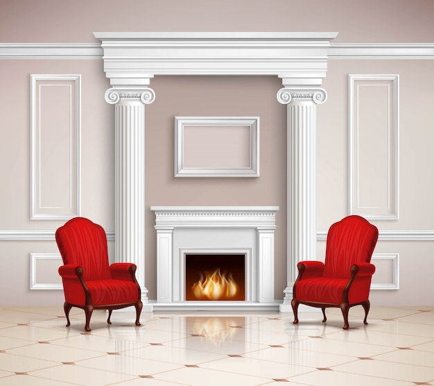 暖炉とアームチェアのあるクラシックインテリア 無料ベクター