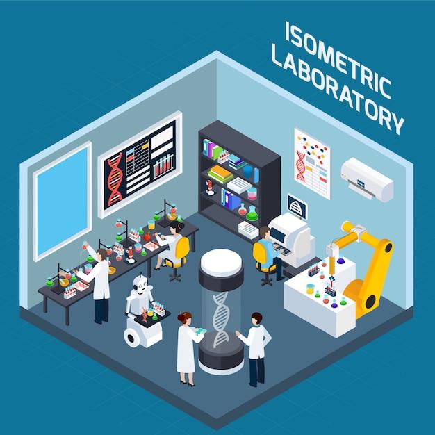 Лаборатория интерьера изометрический дизайн Бесплатные векторы